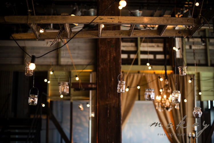 indoor wedding styling hanging jars