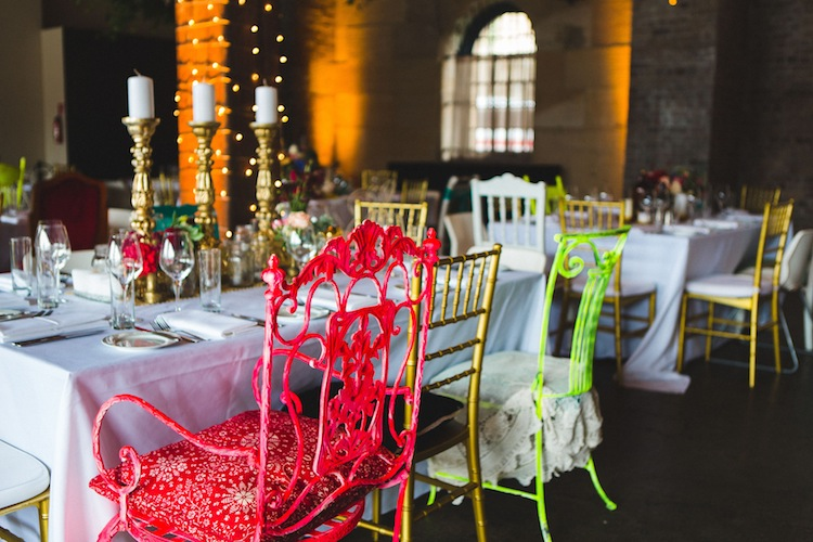 colourful chairs at wedding or event styling