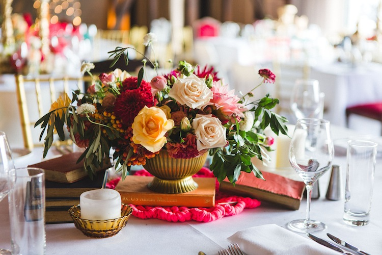 colourful table styling with flowers